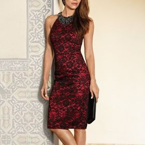 Boston Proper Red Black Lace Beaded Cocktail Dress